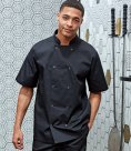 Premier Unisex Short Sleeve Stud Front Chef's Jacket