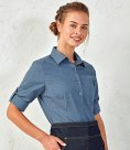Premier Ladies Cross-Dye Roll Sleeve Shirt