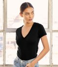 Bella Ladies Jersey Deep V Neck T-Shirt